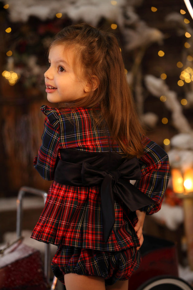 children's children's clothes - winter set - festive set - christmas set - girls set - checkered set- winter set - festive set - christmas set - girls set - checked skirt
