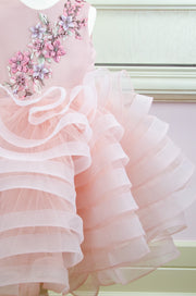 voluminous pink flower girl dress with floral embroidery and multi.layer tulle skirt