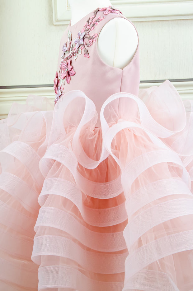 handmade, blush pink flower girl dress with a voluminous, multi-layer tulle skirt with floral embroidery