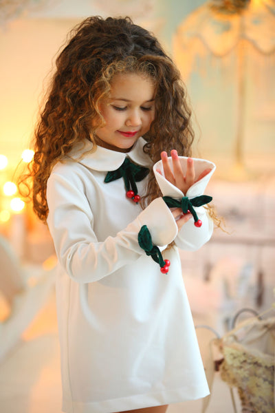 children's clothes - children's dresses - festive dress - christmas dress - girls dress - long sleeve dress - white dress