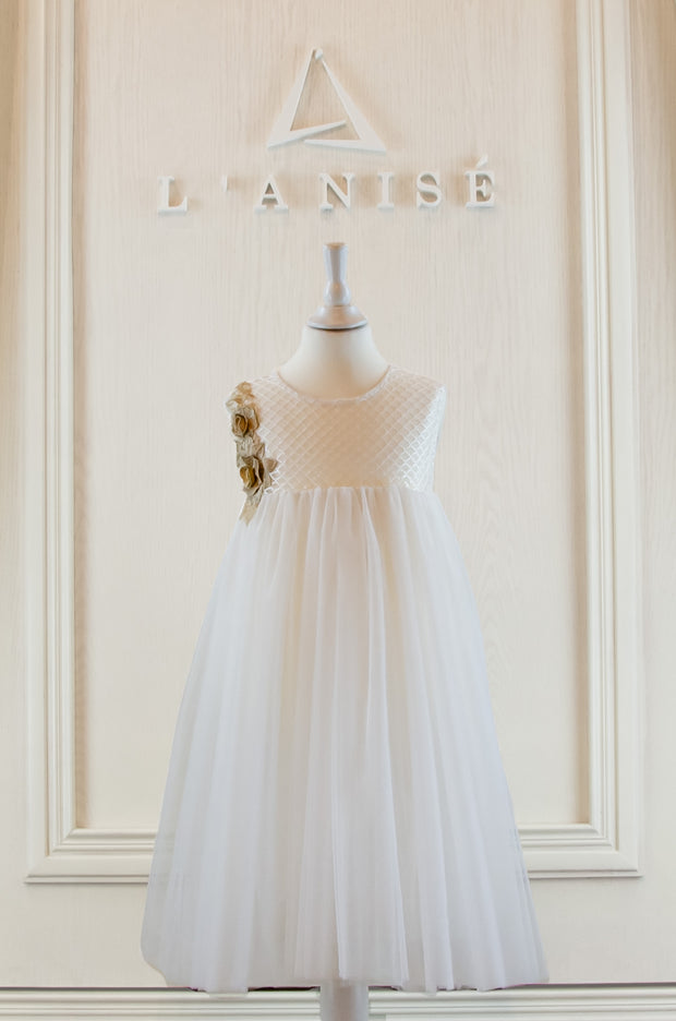 handmade, empire flower girl white dress with gold embroidery