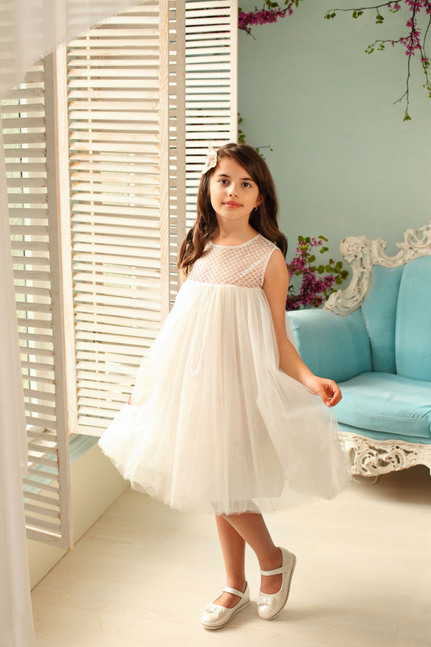 white lace and tulle flower girl dress