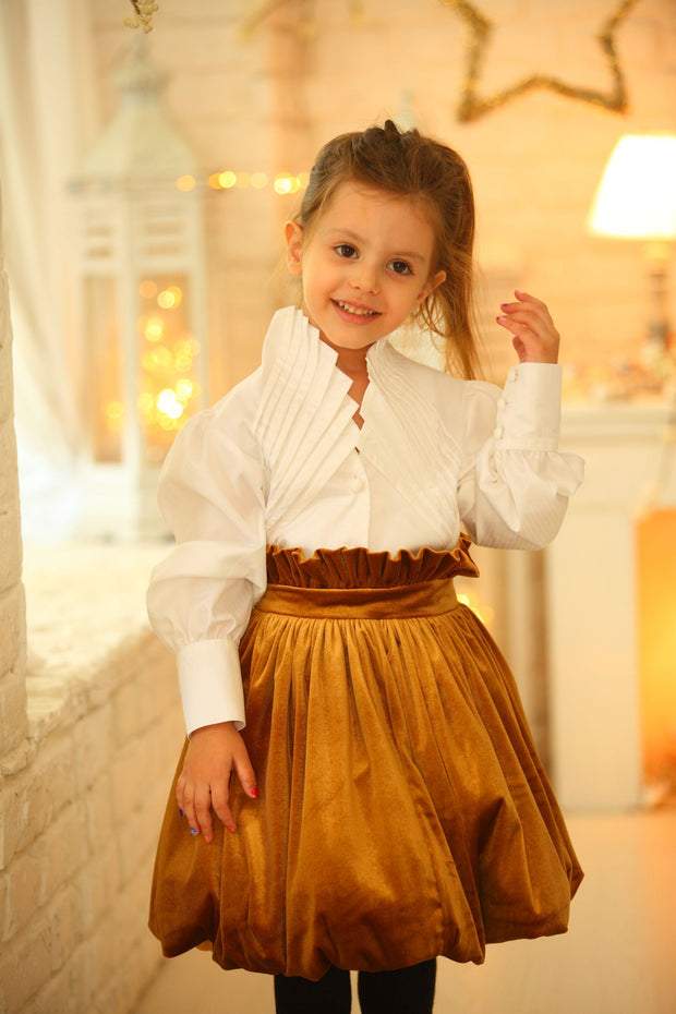 children's clothes - winter skirt - festive skirt - christmas skirt - girls skirt - velvet skirt -golden skirt