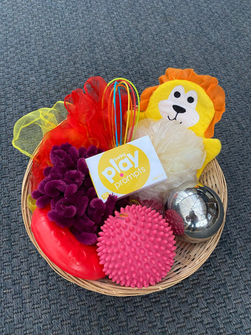 Treasure basket for babies and baby playPROMPTS activity cards