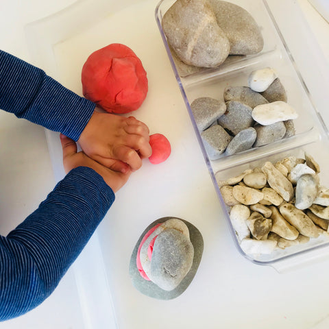 play dough and stones