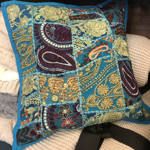 Kantha Pillow - Blue Quilted - Ganje's