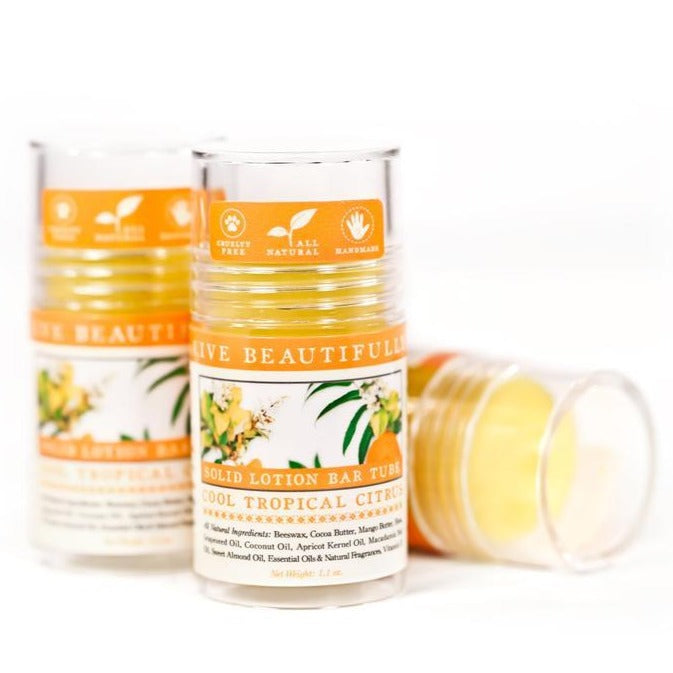 Live Beautifully - Lotion Bar Tube - Cool Tropical Citrus - Ganje's