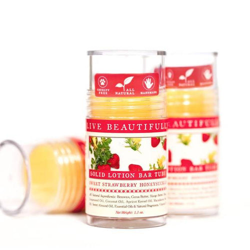 Live Beautifully - Lotion Bar Tube - Sweet Strawberry Honeysuckle - Ganje's