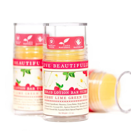 Live Beautifully - Lotion Bar Tube - Berry Lime Green Tea - Ganje's