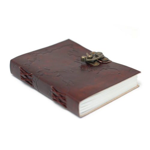 Leather World Map Notebook Journal - Ganje's