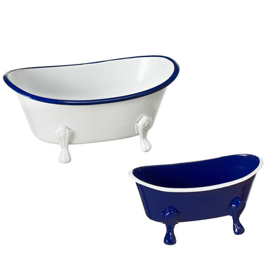 Large Enamel Bathtub Soap Dish - Blue & White - Ganje's