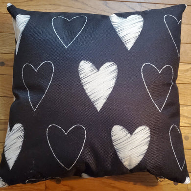 Throw Pillow - Black and White Hearts - Ganje's