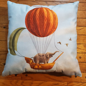 Vintage Throw Pillow - Elephant Express - Ganje's