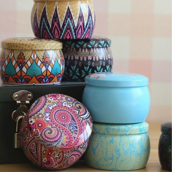 Tin Container - Pink & Blue Mandala Flower - Ganje's