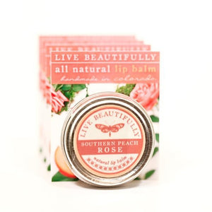 Live Beautifully - Signature Lip Balm Tin - Southern Peach Rose - Ganje's