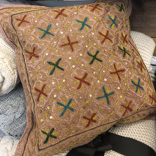 Kantha Pillow - Brown Golden Stitch - Ganje's