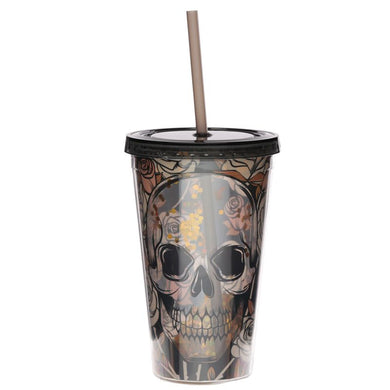 Skulls and Roses Double Walled Reusable Cup with Straw & Lid - Ganje's