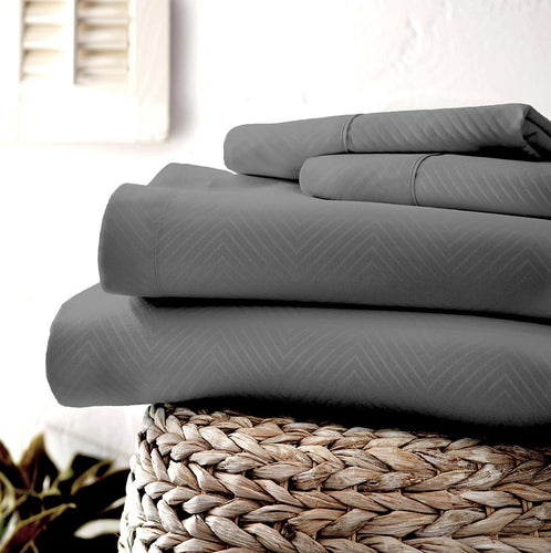 Classic Collection Sheet Set - Embossed Chevron - Vintage Gray - Ganje's