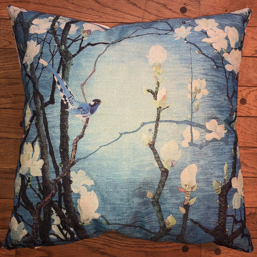 Throw Pillow - Blue Evening Bird - Ganje's