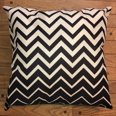 Throw Pillow - Black and White Chevron - Ganje's