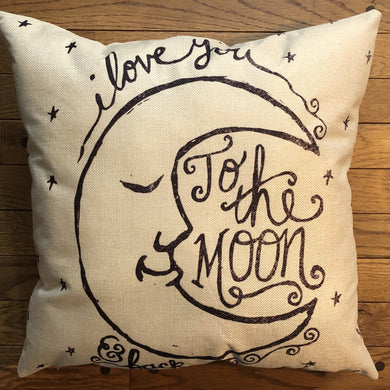 Throw Pillow - Moon and Back - Ganje's