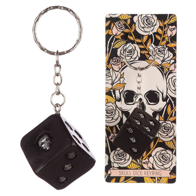 Skulls and Roses Dice Keyring - Ganje's