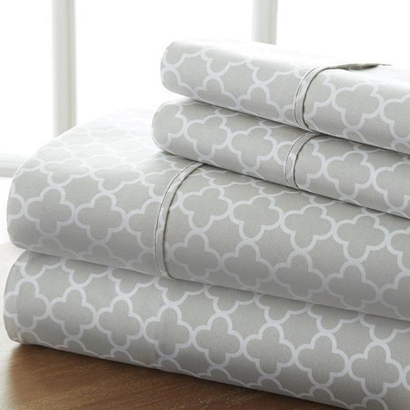 Classic Collection Sheet Set - Moroccan Quatrafoil - Classic Gray - Ganje's