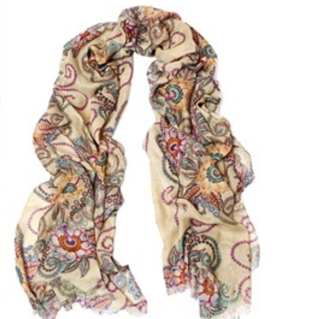 Lightweight Shawl Scarf - Copper Flowers - Ganje's