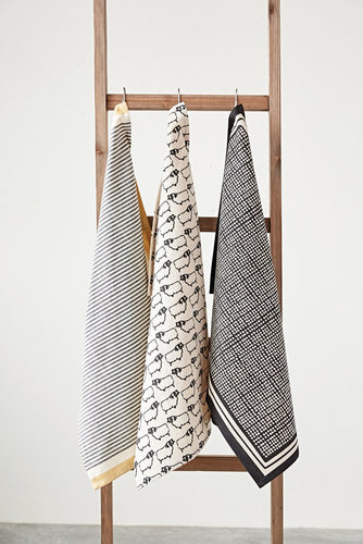 Printed Tea Towel - Black+White - Set of 3 - Ganje's