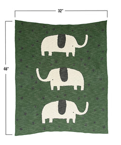 Green Elephant - Knit Baby Blanket - Ganje's