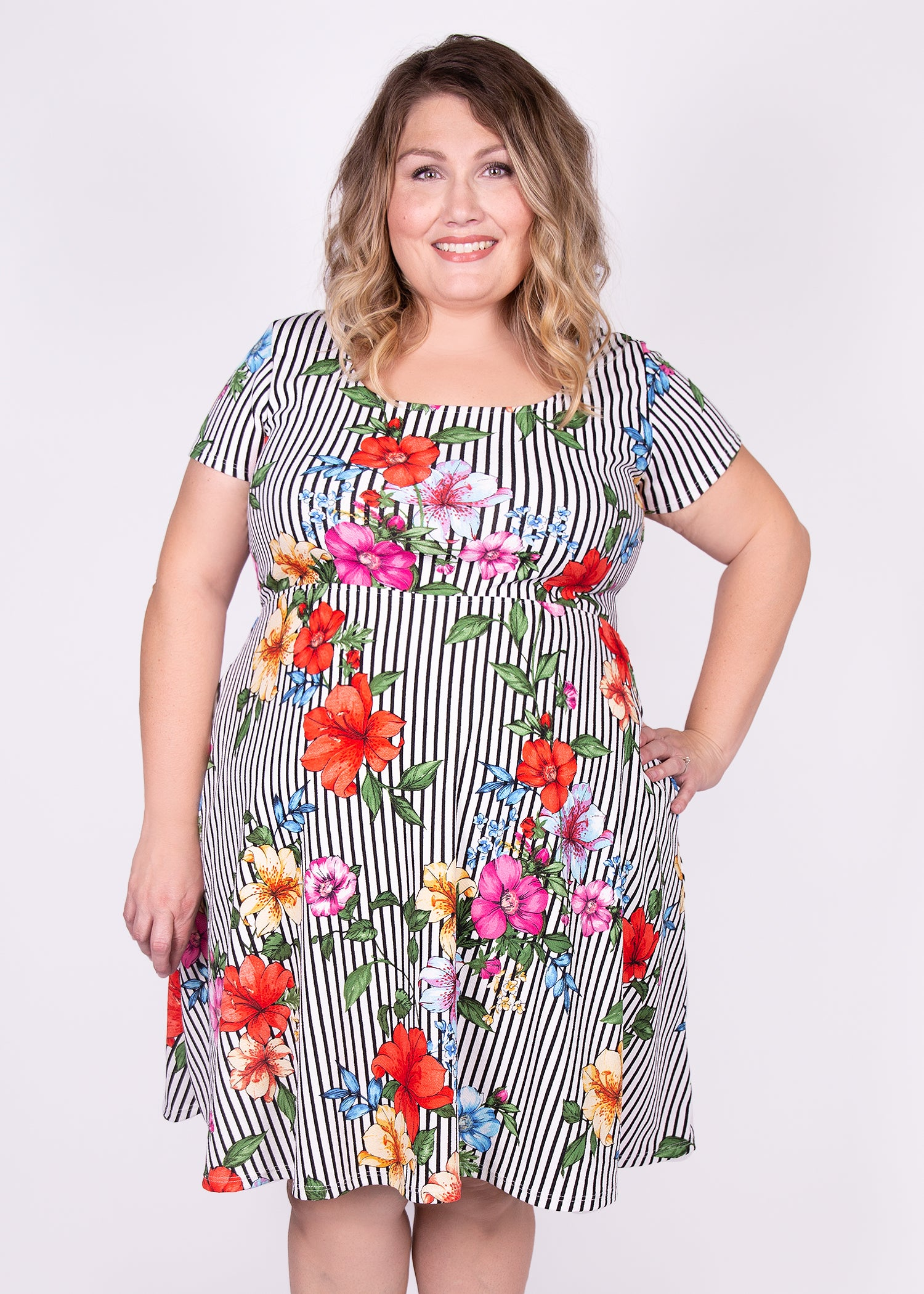 Daffodil Dress in Floral Stripe