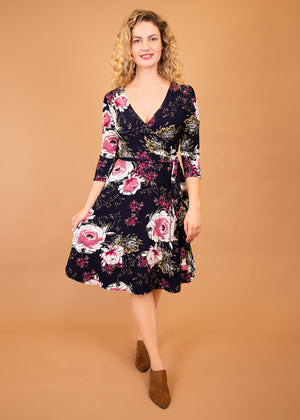 Petunia Wrap Dress in Floral Prints