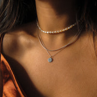 """Lara"" Sterling Silver Compass Necklace"