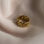 Chunky gold chain ring