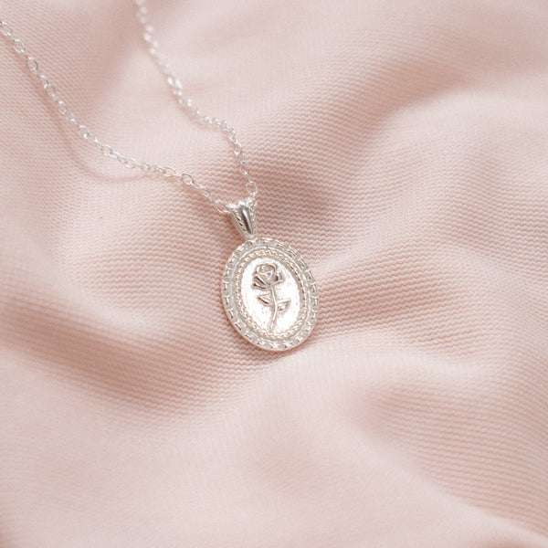 """Rose"" Sterling Silver Cameo Necklace"
