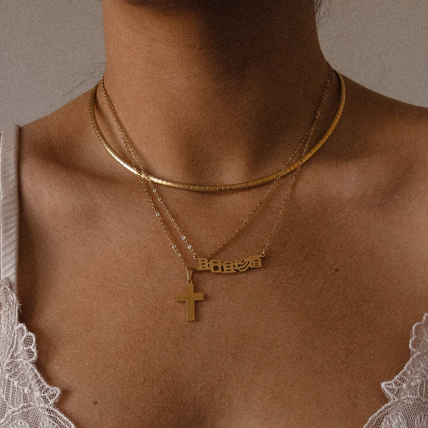 Waterproof gold choker necklace