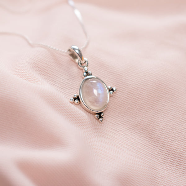 """Temptress"" Sterling Silver Moonstone Necklace"
