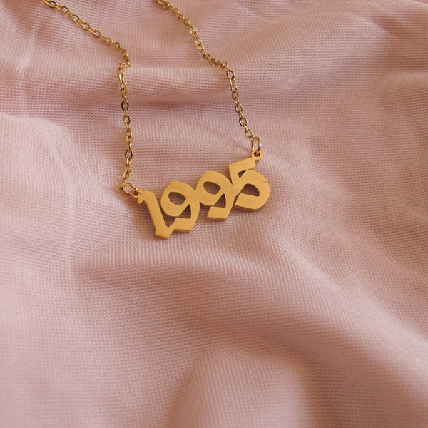 """90s Baby"" Birth Date Necklace"