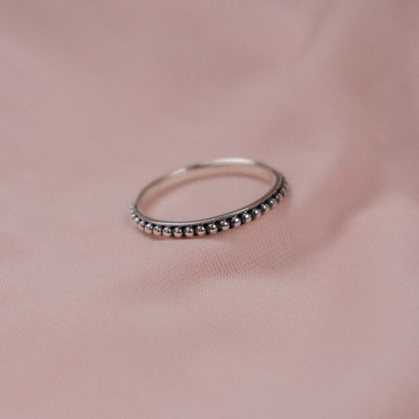 """Rosa"" Sterling Silver Beaded Ring"