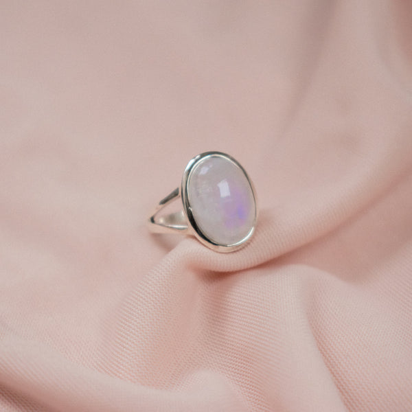 """Zelda"" Sterling Silver Moonstone Ring"