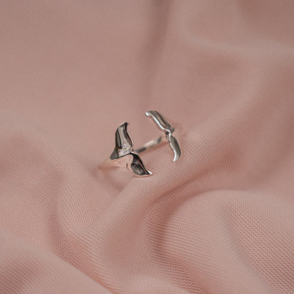 """Ffion"" Sterling Silver Whale Tail Ring"