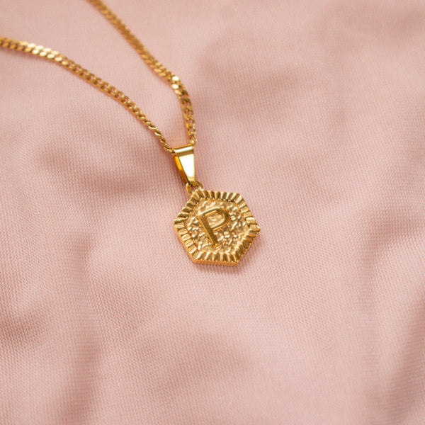 """Hex"" Initial Hexagon Necklace"
