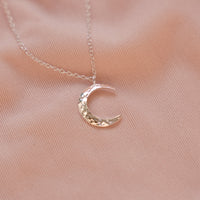 """Maria"" Sterling Silver Textured Moon Necklace"