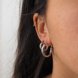 """Willow"" Silver Textured Hoops"