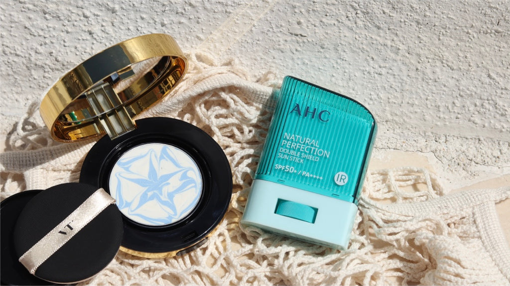 VT Cosmetics Essence Sun Pact y AHC Natural Perfection Sun Stick