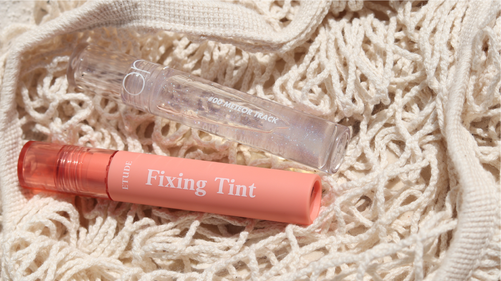 Etude House Fixing Tint y Rom&nd Glasting Water Gloss Meteor Track