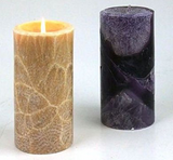 beautiful crystallised feather patterns on palm candles