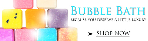 colourful bubble bath cubes stacked like brickwork made by Planet Yum