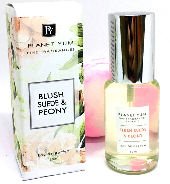 Blush Suede & Peony 50ml Perfume with a free bath bomb