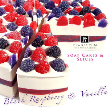 Black Raspberry & Vanilla Natural Soap Cake Slice